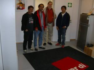 Bernd Harth, der kürzlich verstorbene Gewerkschaftssekretär, mit den 3 Kollegen